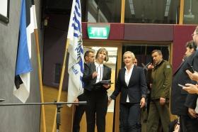 +Видео. Галерея. Президент Эстонии Керсти Кальюлайд посетила Нарвский колледж ТУ