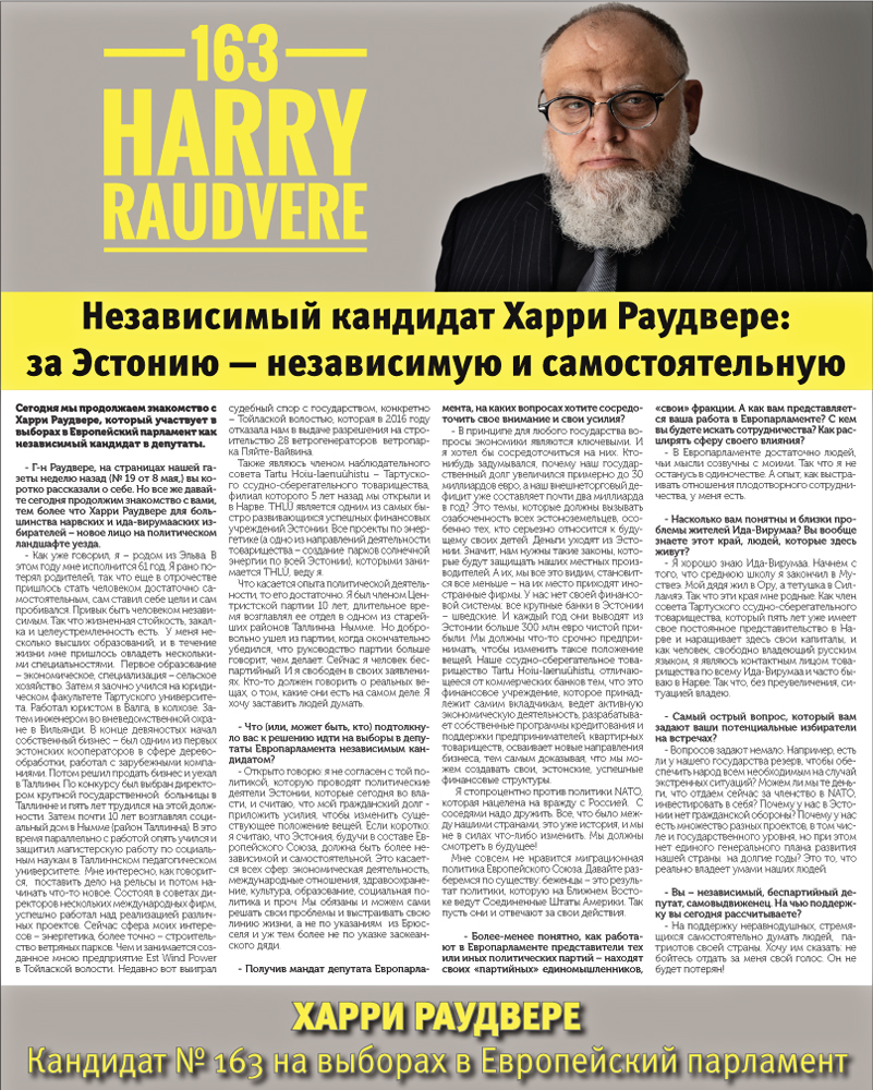 Харри Раудвере, кандидат №163